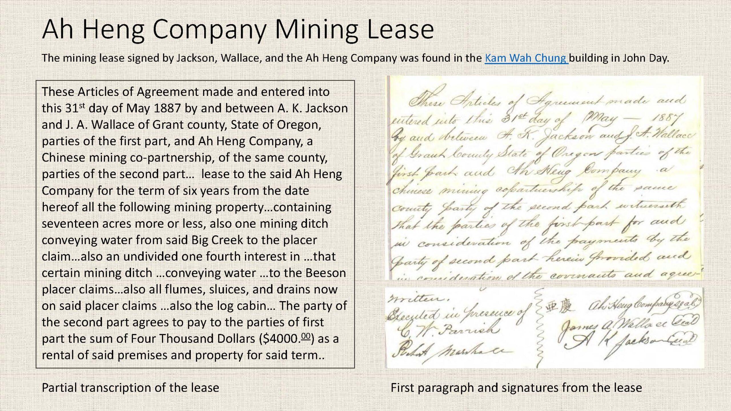 Ah Heng Company Mining Lease