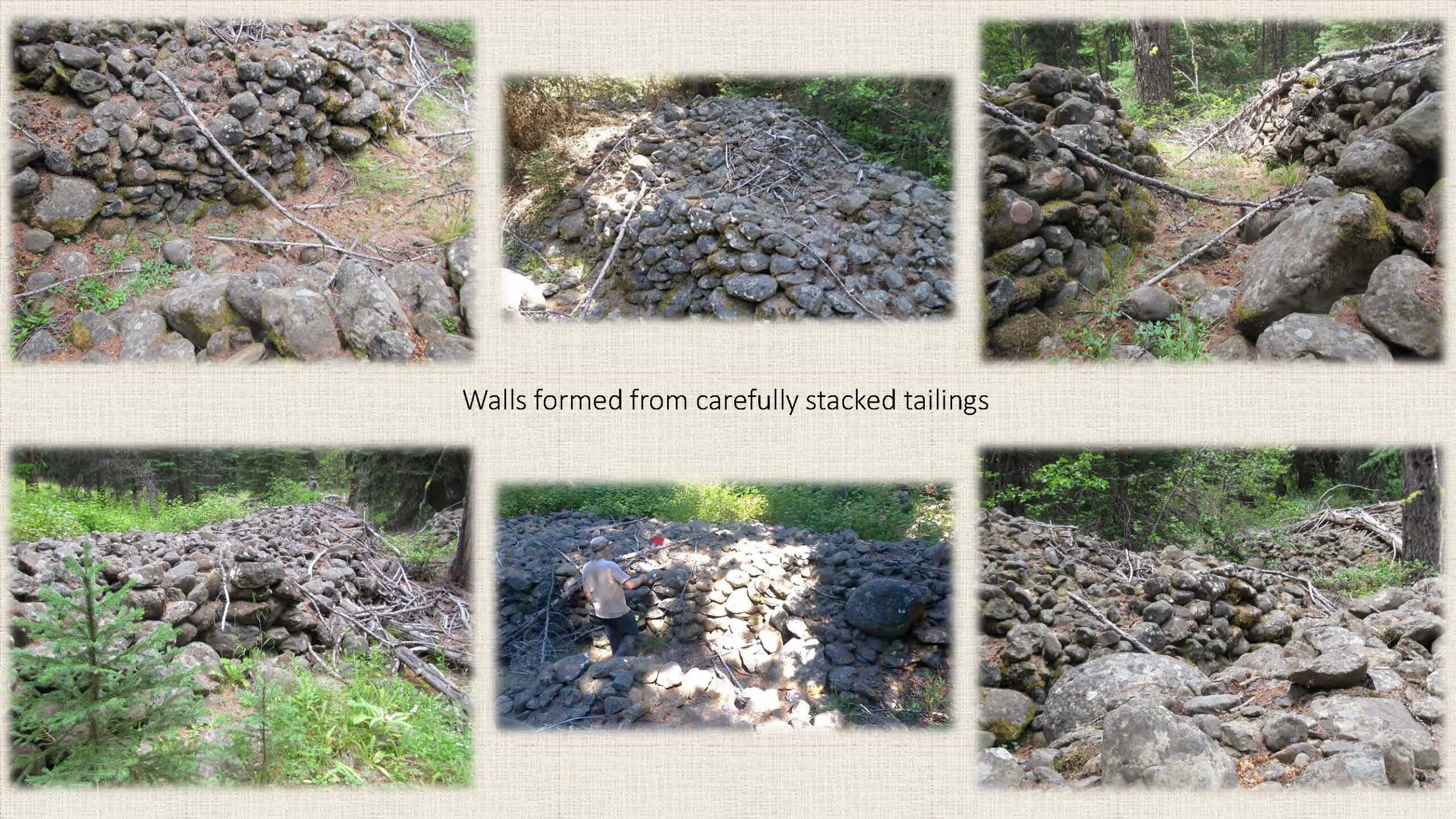 Walls formed from carefully stacked tailings