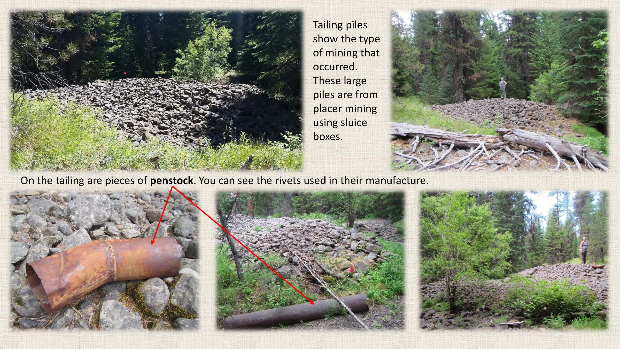 Tailing piles show the type of mining that occurred.
