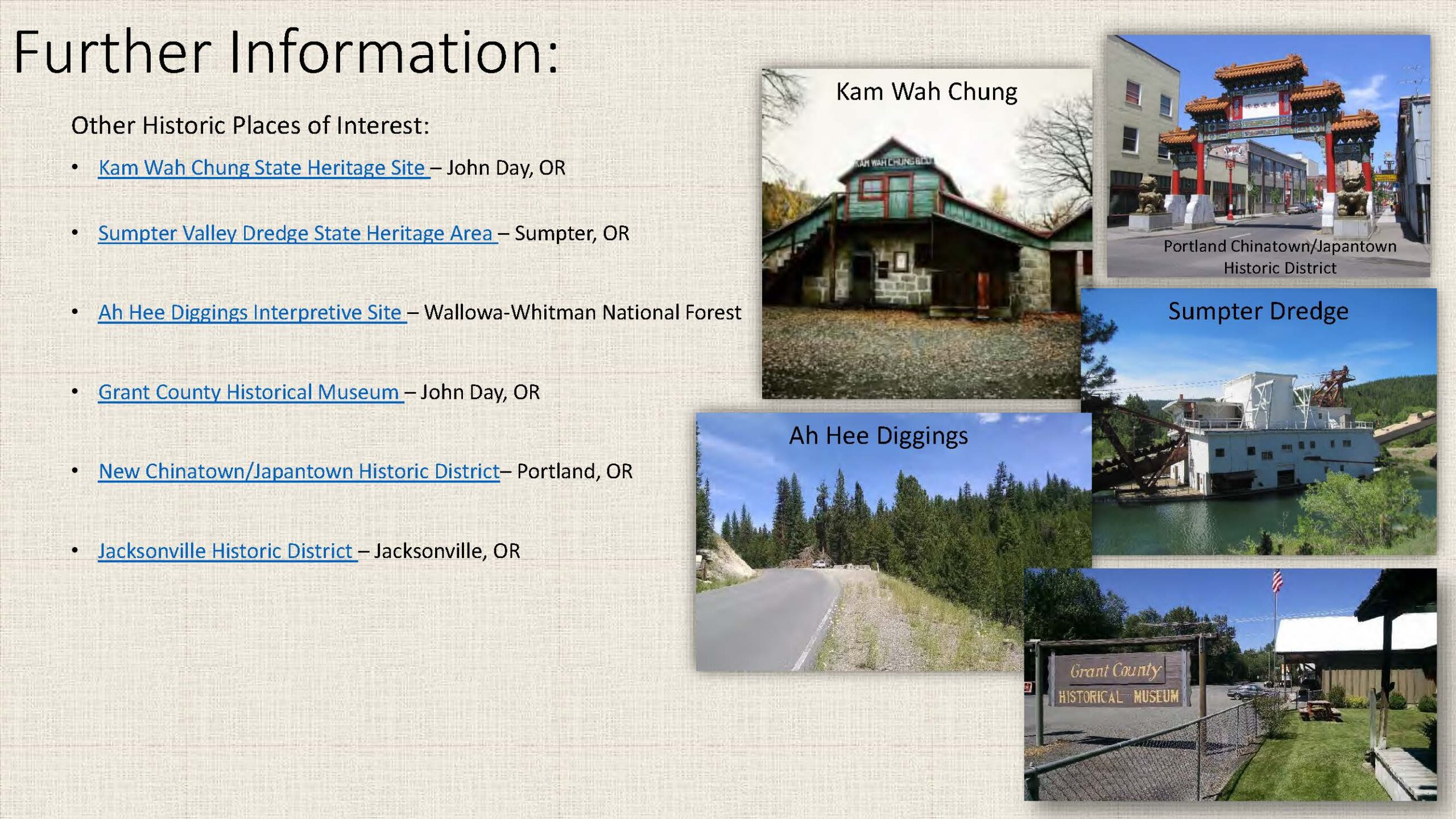 Further Information and Other Historic Places of Interest