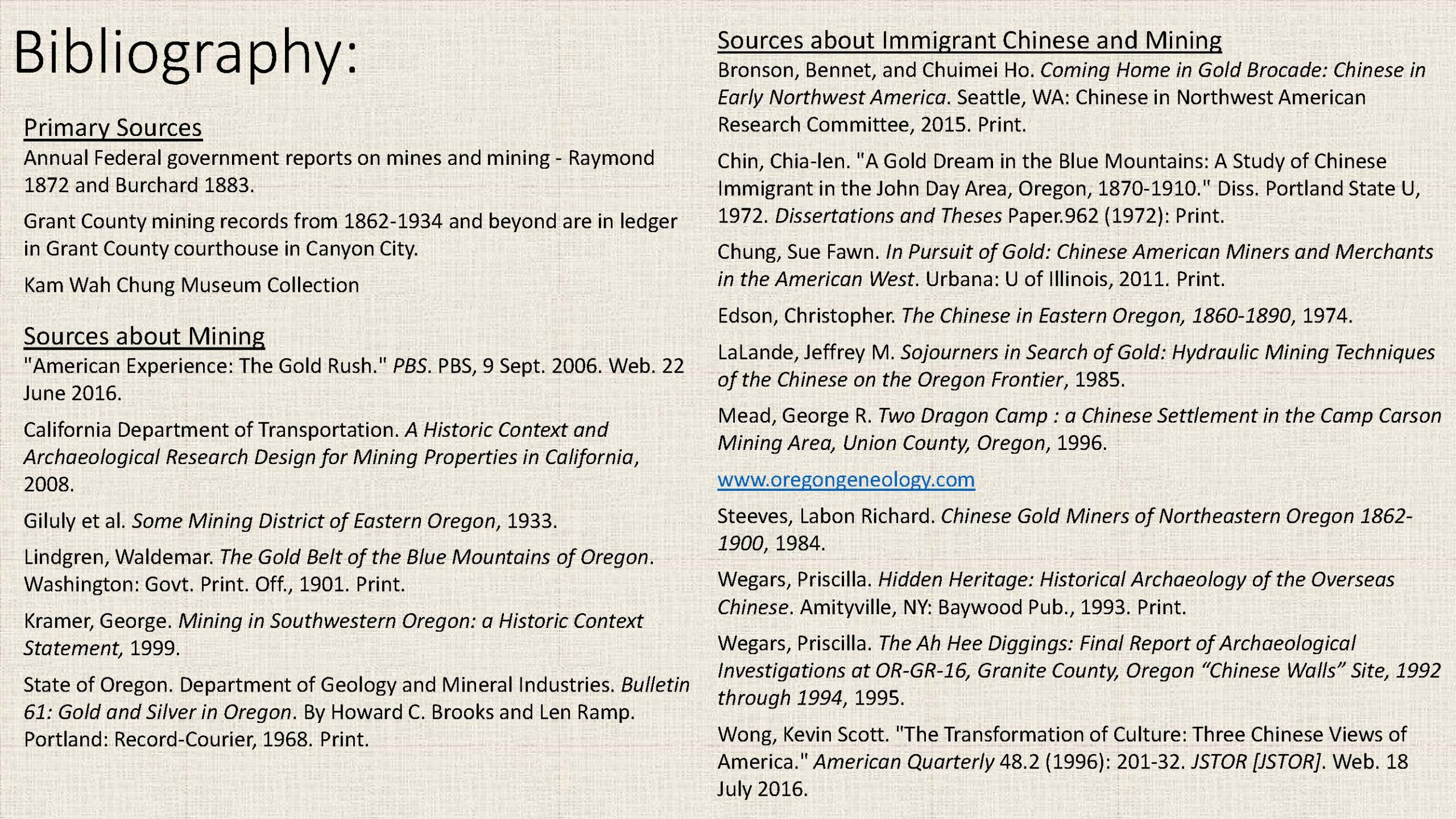 Bibliography, Primary Sources, Sources about Mining, Sources about Immigrant Chinese and Mining