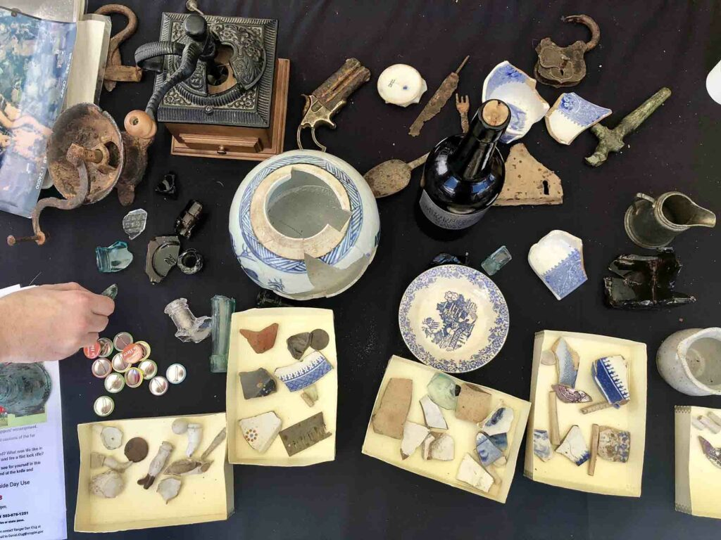 Exhibit of historic artifacts at the 2018 Portland Roadshow