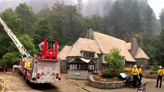 Multnomah Lodge is protected by fire workers during the Eagle Creek Fire
