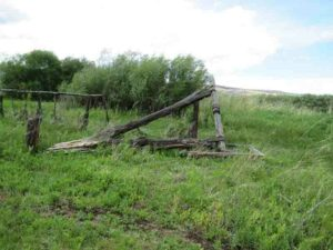 The Collapsed P-Ranch Beef Wheel in 2017. The wooden beams have fallen over.